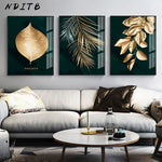 Golden Leaf Abstract Wall Poster Modern Style Canvas Print Botanical Painting Contemporary Art Room Entrance Decoration Picture