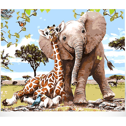 Painting By Numbers  Giraffe With Elephant Animal       (6 different variants)