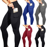WOMEN LEGGINGS MOBILE POCKET - SOLID HIGH ELASTIC WAIST YOGA PANTS