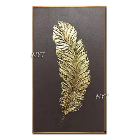3D Thick Gold Feather Canvas Wall Art Hand Painted Oil Painting Canvas,  14 sizes