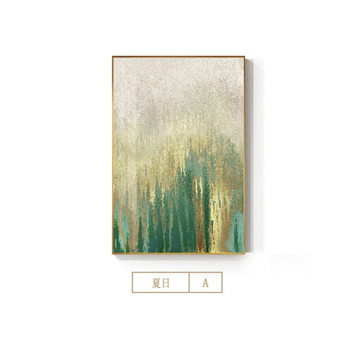 Abstract Flowing Gold Foil Canvas Painting Modern Green Poster Print.  16 options