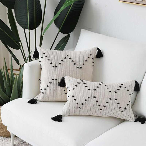 White Black Geometric cushion cover Tassels pillow cover Woven for Home decoration