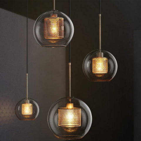 Retro Pendent Lamp Glass Shade Bedroom Bedside Home Decorative Round Lighting for  Living Room Study Room cafe shop bar Pendent