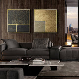 Abstract Gold Black White Modern Square Texture Canvas Painting