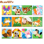Frame Animals DIY Painting By Numbers Kit Kids , 23 options