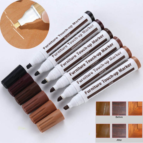 Furniture Refinishing Pen Markers Scratch Filler Tool, 6 colors.