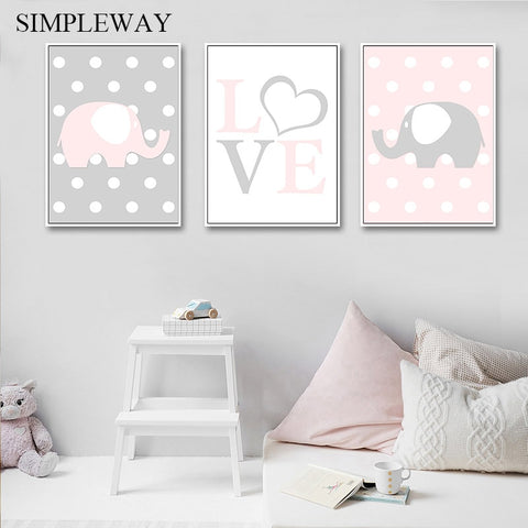 Baby Nursery Wall Art Canvas Print Elephant.       70 different options on pictures.