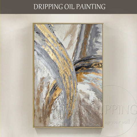 Modern Abstract Gold Foil Acrylic Painting on Canvas             (27 variants)