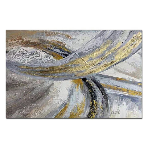 Abstract Textured Heavy Thick Gold Foil Design Oil Painting 100%