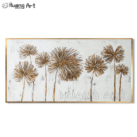Skilled Painter Pure Hand-painted Modern Gold Flower Landscape Oil Painting On Canvas for Home Decor Dandelion Texture Painting