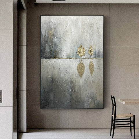 Pure hand-painted Oil Nordic Light Extravagant Gold Leaf Decoration.  Modern  Art Andy Warhol Painting.