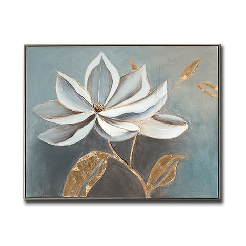 Unframed Abstract White Flower 100% Hand Painted Oil Painting Gold Foil Canvas .   9 sizes
