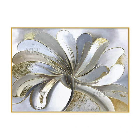 White And Gold Flower Painting Abstract Wall Art Handpainted Modern Oil Paintings On Canvas Wall Art Home Decor Unframed
