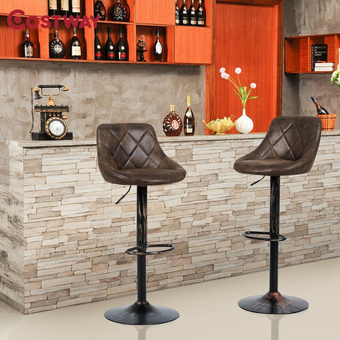 Set of 2 Adjustable Bar Stools with Backrest and Footrest Bar Chair Adjustable Height by Lift Arm