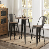 2pcs Bamboo Wooden Seat Metal Legs Backrest Barstool Restaurant Dining Room Stackable Metal Chair