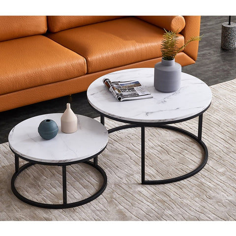 Coffee Table Modern Living Room Furniture with marble top in white and brown