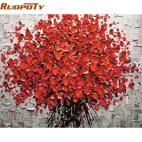 Red Flowers DIY Painting By Numbers Canvas Wall Art Hand Painted Oil painting.