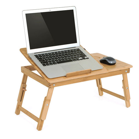 Nature Bamboo Laptop Table Simple Computer Desk With Fan.
