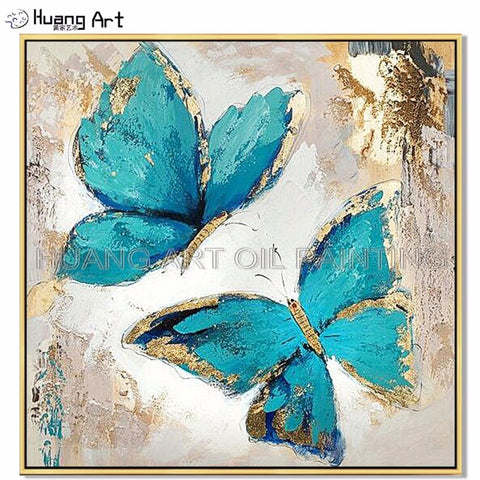 Hand-painted Blue and Gold Winged Butterfly Oil Painting on Canvas.  5 sizes