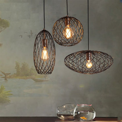 Retro Loft Style Barbed Wire Droplight Industrial Vintage Pendant Light Fixture.