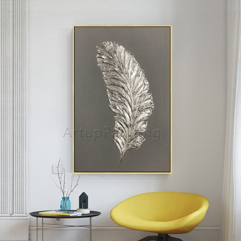 Silver Feather Painting on Canvas Wall Art Modern acrylic hand painted Home .