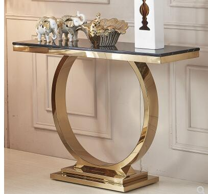 Marble porch stage modern simple light luxury stainless steel titanium gold entrance hall desk porch decoration cabinet
