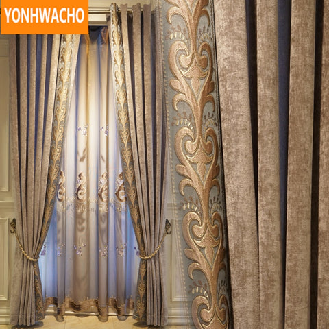 Custom curtains luxury Simple modern chenille living room .