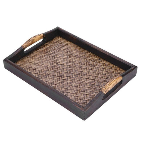 Multi-Functional Wooden Serving Trays With Handle Rectangle Handmade Rattan bamboo.