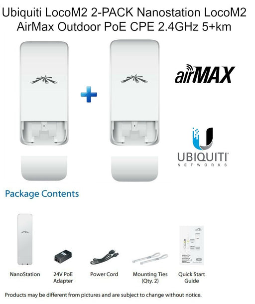 Ubiquiti Networks LOCOM2 (2-PACK) Nanostation LocoM2 AirMax Outdoor PoE CPE 2.4GHz 5+km - 2Day Free Shipping