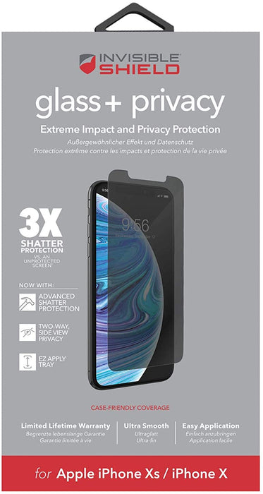 ZAGG InvisibleShield Glass+ Privacy Screen Protector for Apple iPhone XS Max – 3X Impact Protection - We Love tec