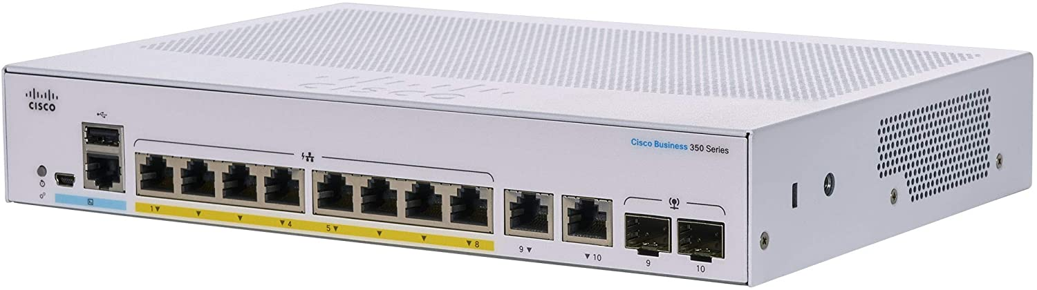 Cisco Business CBS350-8FP-E-2G Managed Switch | 8 GE ports | Full PoE | Ext PS | 2x1G Combo | Limited Lifetime Protection (CBS350-8FP-E-2G)