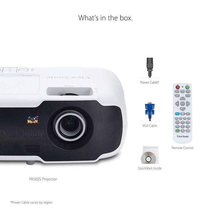 ViewSonic PA502S 3,500 Lumens High Brightness SVGA Projector for Home and Office with HDMI and Optical Zoom, VIE-PA502S - We Love tec