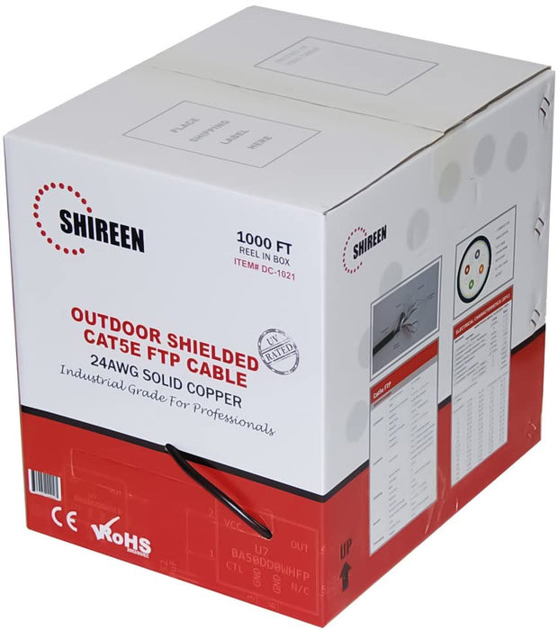 Shireen DC-1021 CAT5e 1000ft FTP Ethernet Cable, Outdoor Shielded