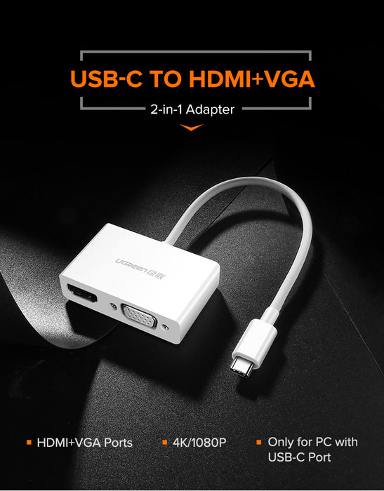 UGREEN USB Type C to HDMI + VGA Converter (White)