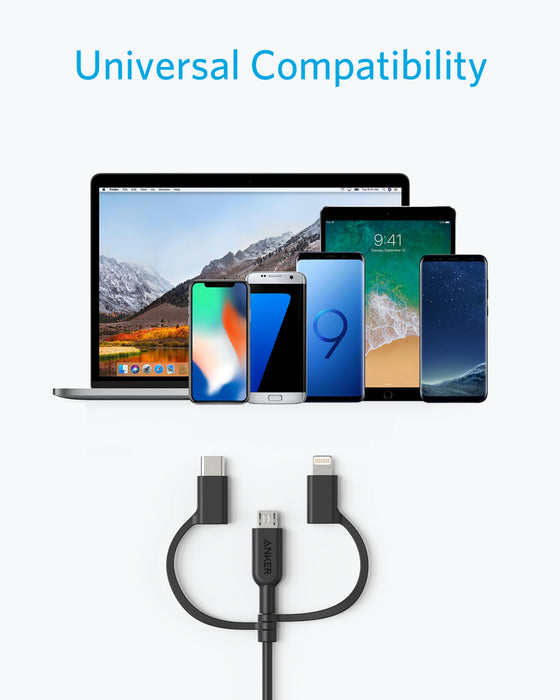 Anker A8436H11 PowerLine II 3-in-1 Charging Cable, USB-A to Lightning, USB-C and Micro USB, Black - We Love tec