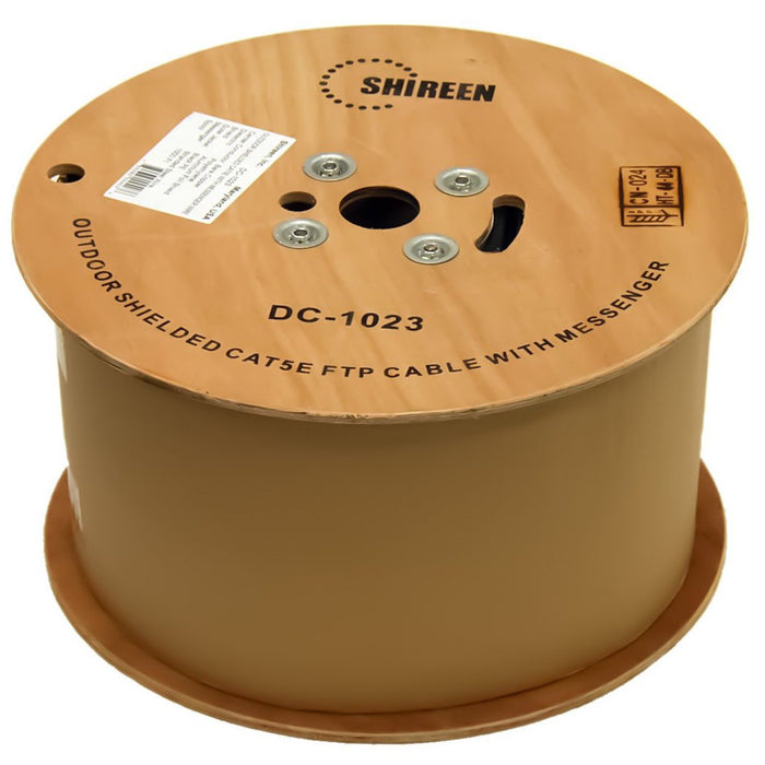 Shireen DC-1023 CAT5e 1000ft FTP Cable, Outdoor Shielded with Messenger Wire