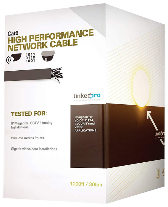 LinkedPro PRO-CAT-6, CAT6 Ethernet Cable 1000ft, Copper Clad Aluminum (CCA) Blue Wire, Perfect for Indoor and Outdoor