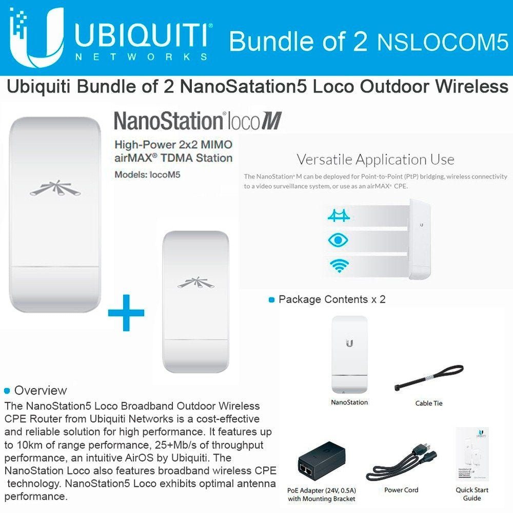 Ubiquiti Networks LOCOM5 Outdoor MIMO 11n 5GHz, US Version (2 pack) - Free 2Day Shipping - We Love tec