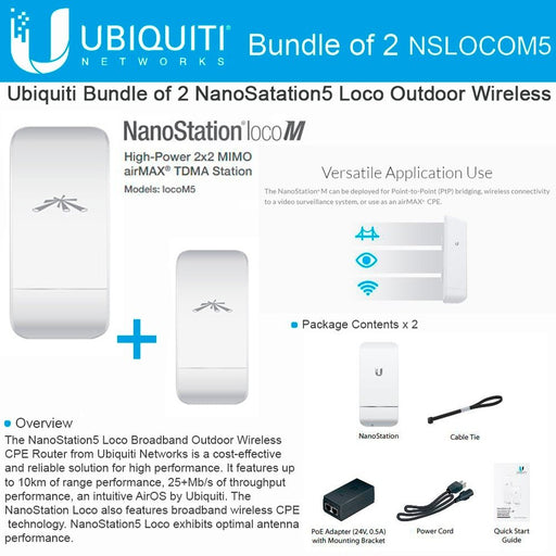 Ubiquiti Networks LOCOM5 Outdoor MIMO 11n 5GHz, US Version (2 pack) - Free 2Day Shipping