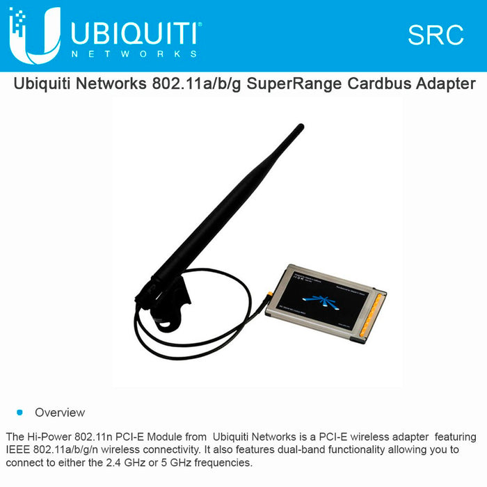 Ubiquiti SRC 2.4/5GHz SuperRange 1x1 PCMCIA - We Love tec