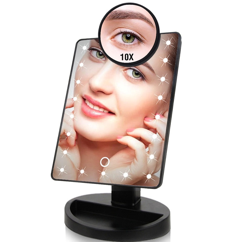 22 LED Lights Touch Screen Makeup Mirror 1X 10X Table Desktop Countertop Bright Adjustable USB Cable Or Batteries - sweet-casa.com