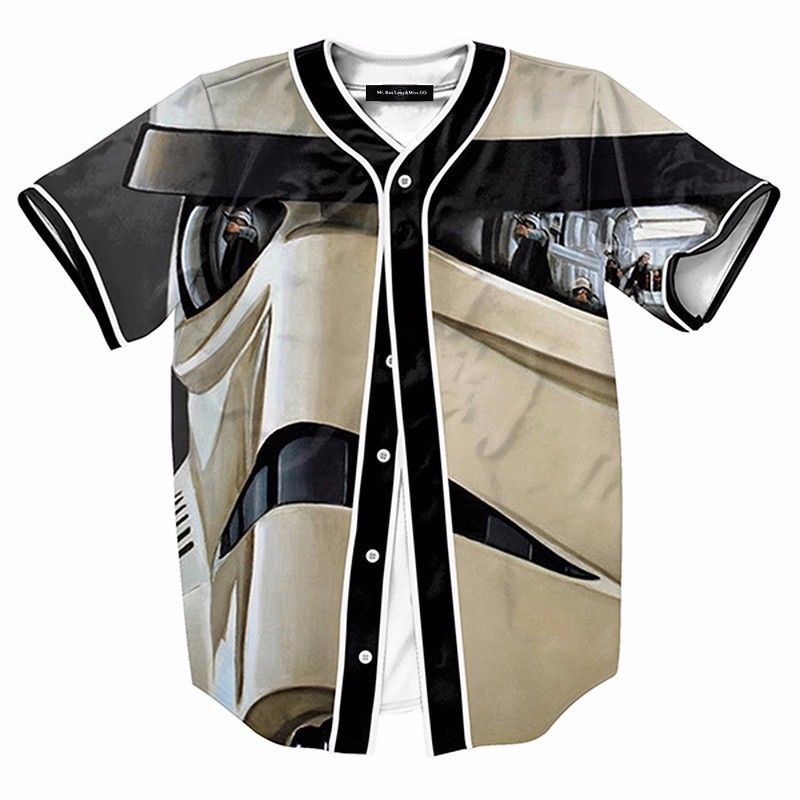 3D Storm Trooper Mlb Baseball Jersey Shirts Mens Casual Cool Stylish Open T-Shirt Fashion Short Sleeve Summer Tee Top - sweet-casa.com