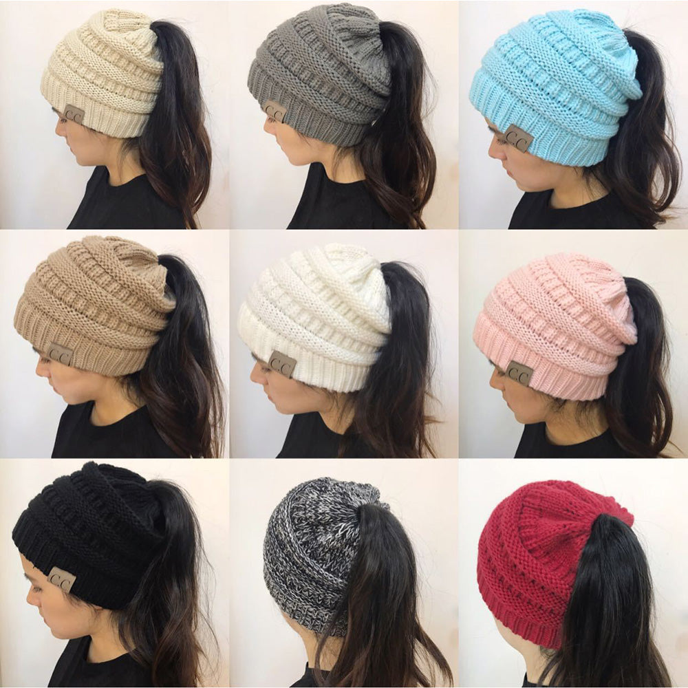 025a7f676da ... Warm winter knitted Chunky Soft Slouchy Beanie High bun Ponytail  Stretchy hat - sweet-casa