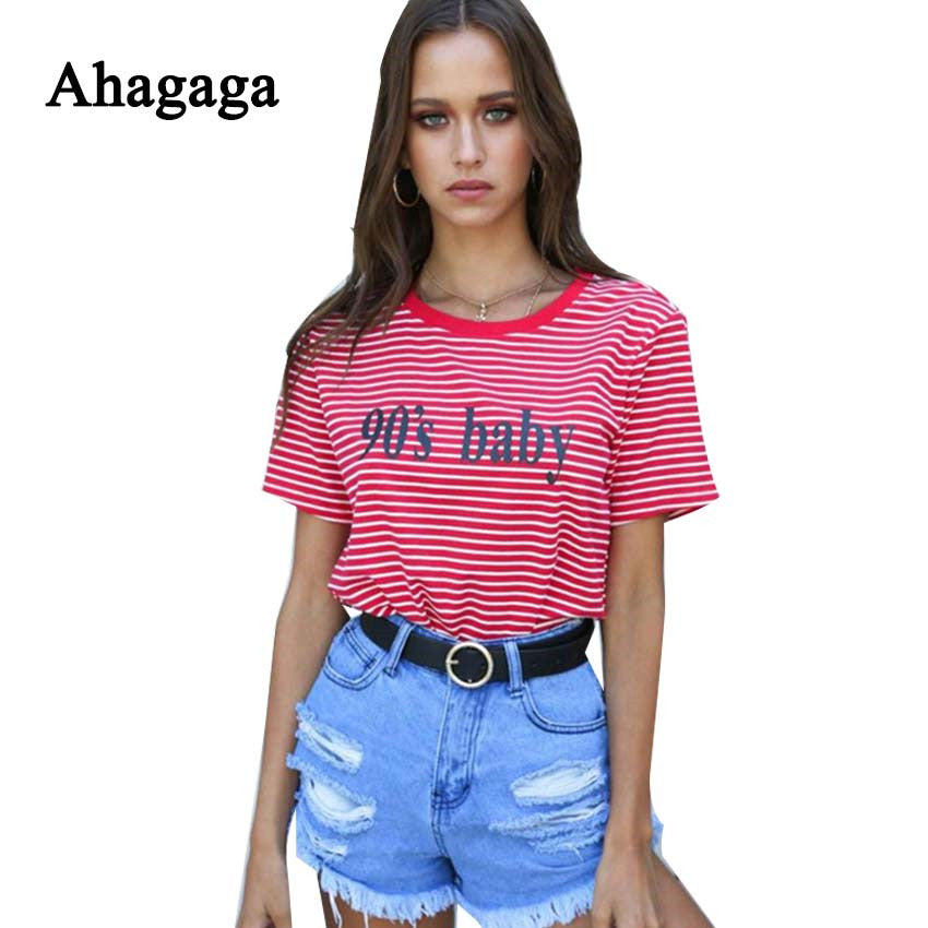 efdc1eb567a ... Ahagaga 2018 Spring Summer Tees T-shirt Women Tops Fashion Letter Print  Striped Regular O ...
