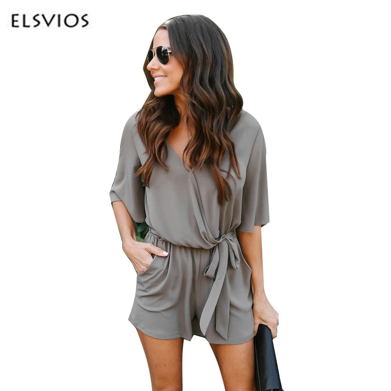 e29ae5b3bf36 ELSVIOS 2018 Chiffon Playsuit Jumpsuits Women Spring Summer Rompers Sexy V  Neck Casual Overalls With Pockets
