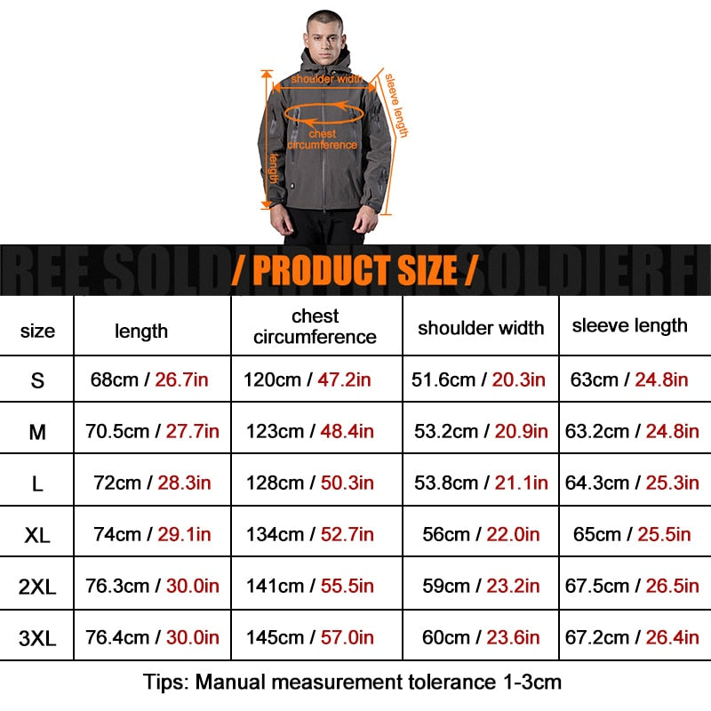 FREE SOLDIER outdoor camping instant waterproof windbreaker softshell jacket men's coat thermal outwear clothing large US size - sweet-casa.com