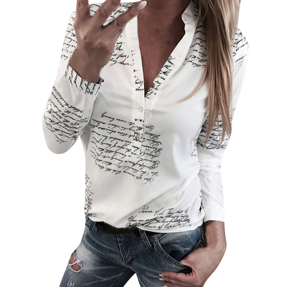 Feitong Women Letters Printing Blouses Fashion Ladies Chic V Neck Button Long Sleeve Shirt Tops Blouse blusas mujer de moda 2019 - sweet-casa.com