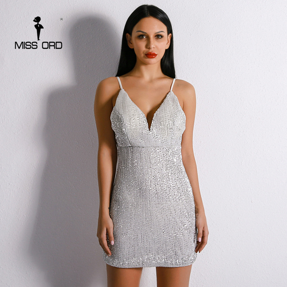 Missord 2018 Sexy Off Shoulder Harness Backless Elegant Dresses Female  Sequin V Neck Mini Bodycon Party ... 7ed1aaf7ef70