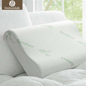 Naturelife Bamboo Fiber Pillow Slow Rebound Health Care Memory Foam Pillow Memory Foam Pillow Support The Neck Fatigue Relief - sweet-casa.com