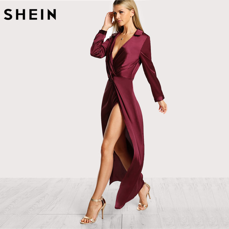 494cd60624 ... SHEIN Burgundy Sexy Party Dress Satin Front Twist Wrap Dress Lapel Deep  V Neck Long Sleeve ...